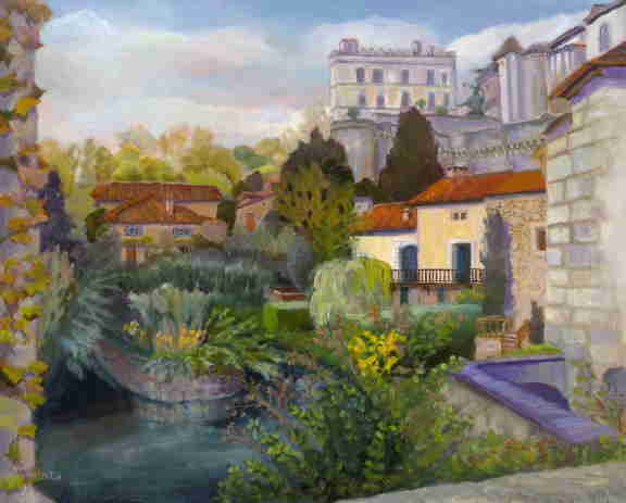 Oil painting, France, historic town, castle, Dordogne, Bonnie Mincu