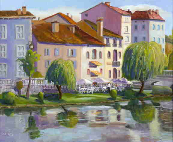 Brantome riverbank, France, oil painting, Bonnie Mincu