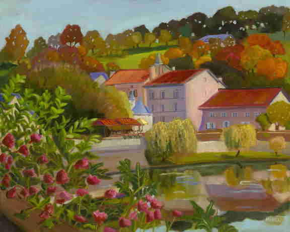 Brantome, France, Dordogne, river, colorful flowers, oil painting, Bonnie Mincu