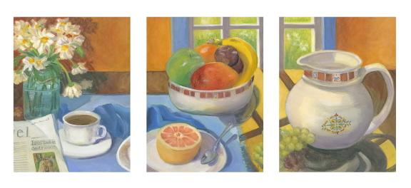 Breakfast & Dreams, triptich oil painting, Bonnie Mincu