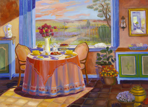 Company Expected by Bonnie Mincu, oil, Provence interior