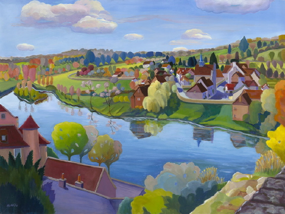 French River Town, 30x40, Angle sur Anglin, Loire Valley vista
