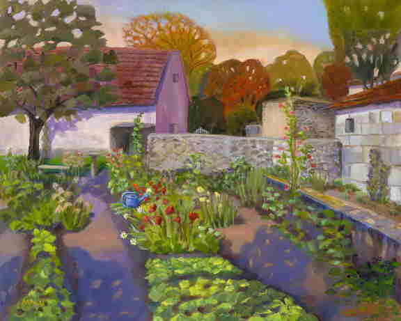 French village garden, Dordogne, oil painting, Bonnie Mincu