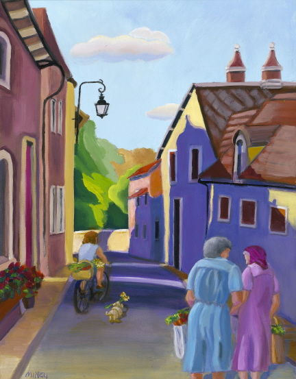 Home from the Market, oil painting, Bonnie Mincu