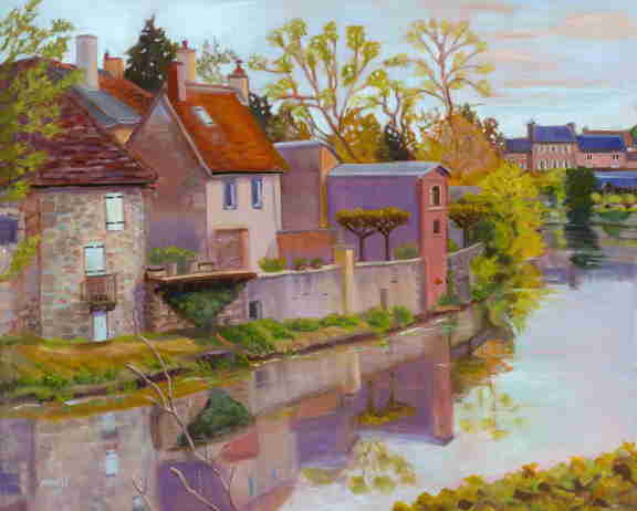 oil painting, Loire Valley Canal, France