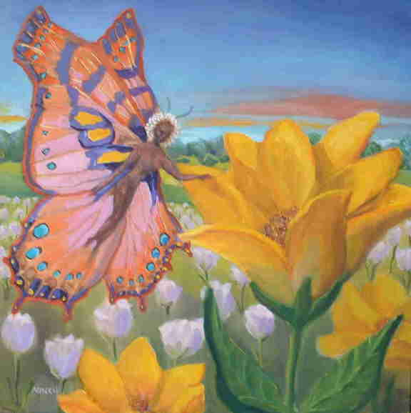 Pink Butterfly Fairy fantasy oil painting
