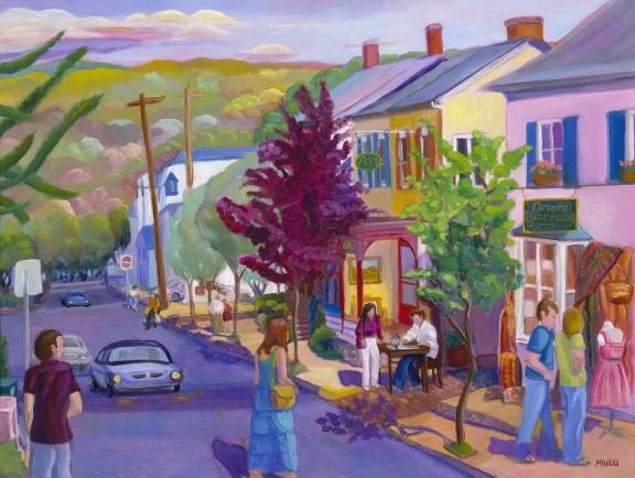 Bonnie Mincu, Second Saturday New Hope, Oil painting, New Hope, PA