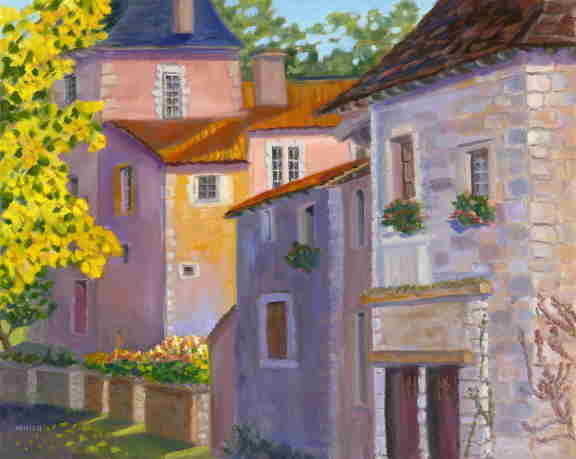 French village, oil painting, sun and shadow, Bonnie Mincu