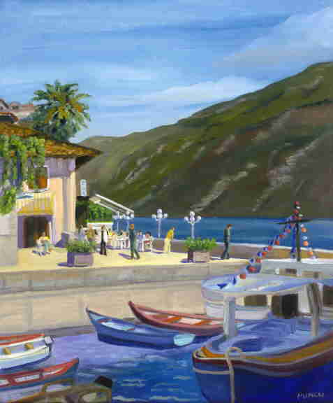 oil painting, Italian Lakes, dock, boats, Bonnie Mincu