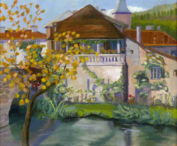 Brantome, French village oil painting by Bonnie Mincu
