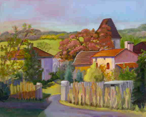 French village landscape, Dordogne, Bonnie Mincu