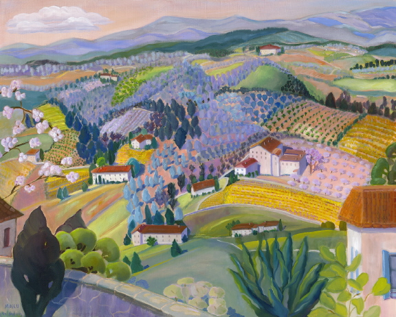 View from Venasque oil painting, Bonnie Mincu