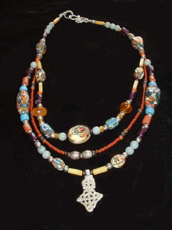 Bonnie Mincu's African-inspired necklace w/ethiopian silver cross