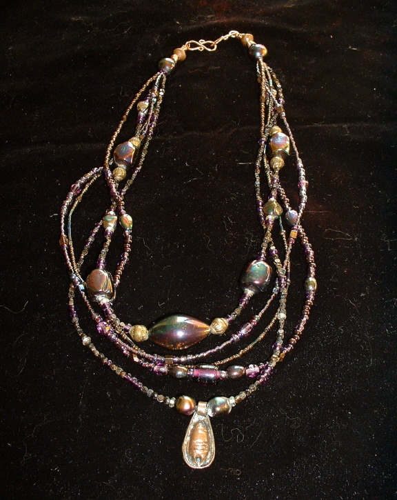 Bonnie Mincu 5-strand antique copper w/pendant
