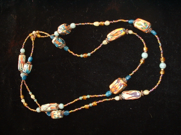 Bonnie Mincu copper strand necklace with Matisse beads