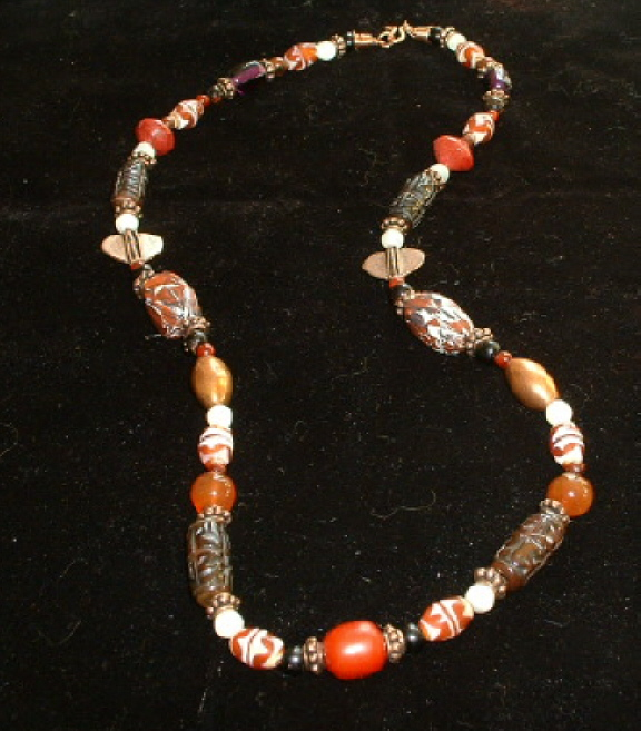 Bonnie Mincu necklace, Autumn tones, Tibetan brown and orange